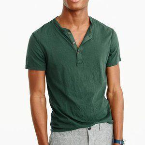 J.CREW Broken In Henley Short Sleeve Shirt Green